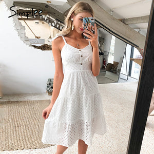 SIMPLEE Casual Cotton embroidery hollow out backless dress - Free Shipping