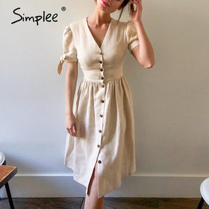 Simplee V-neck Cotton Midi Dress - Free shipping - Style Art Villa