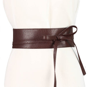 Solid Color Bow Wide Belt Tie Wrap Waist Band - Free shipping