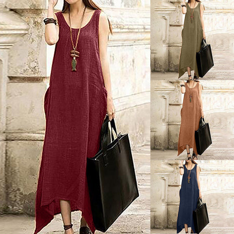 Linen Irregular Maxi Dress - Free shipping