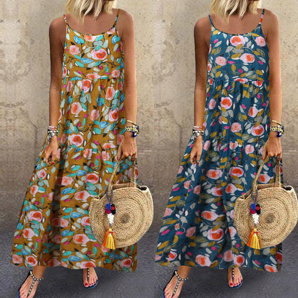 Linen Sleeveless Boho Retro Print - Free shipping