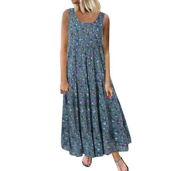 Linen Floral Print Maxi Dress - Free shipping