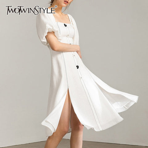 TWOTWINSTYLE Vintage Side Split Dresses - Free shipping