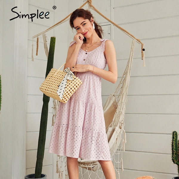 Simplee Cotton Embroidery Dress - Free shipping