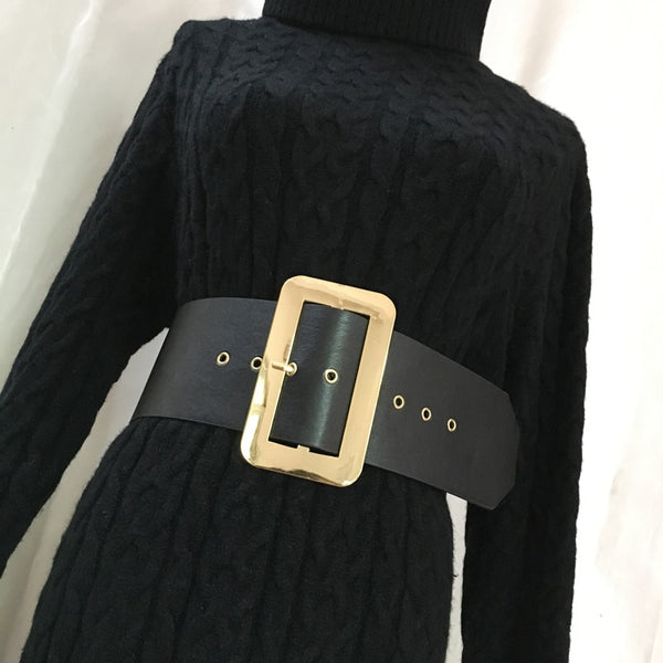 Vintage Metal Square Buckle PU Belt - Free shipping