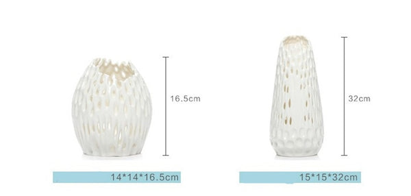 Modern handmade white decorative vases - Free shipping (17-27 days)