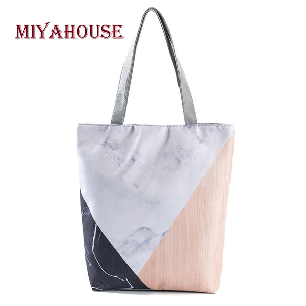 Miyahouse Patchwork Design Marble Print Canvas Handbag - Free shipping