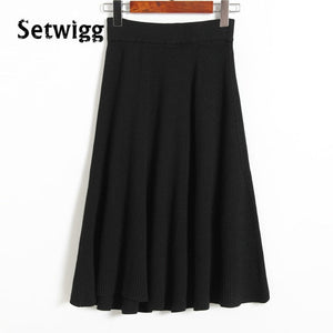 SETWIGG Wool Knit Skirt Elastic Waist Knee-length - Free shipping (17-27 days)
