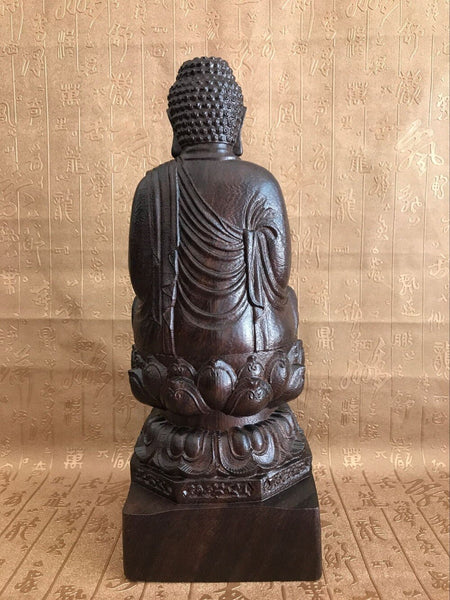 Classical Ebony Wood Hand Carved Sakyamuni Buddha Statue - Free shipping ( 17-27 days)