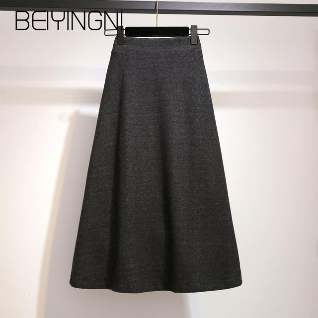 Beiyingni Knitted High Waist Skirt Casual Simple A-line - Free shipping (17-27 days) -  - style-art-villa
