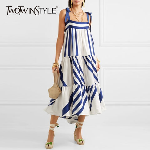 Striped Spaghetti Strap Cotton Dresses Casual Back Less - Free shipping