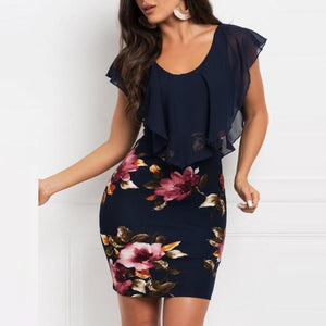 Sleeveless Floral Printed Party Dress - Free shipping (17-27 days)