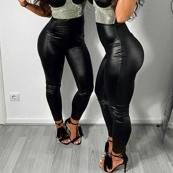 Nessaj Black PU Leather Skinny Leggings - Free shipping n(17-27 days)