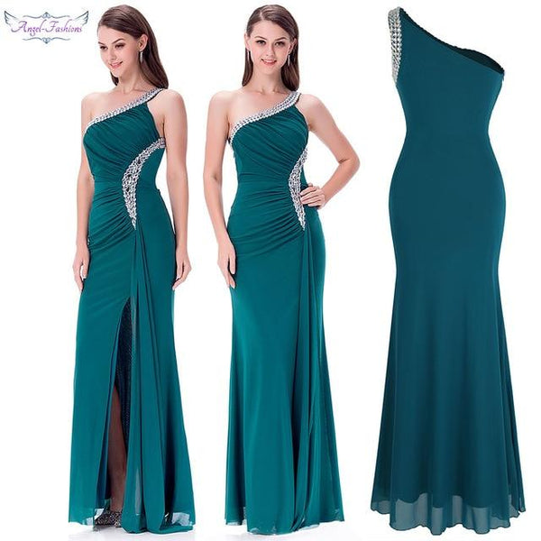 Angel-fashions One Shoulder Evening Dress - Free shipping