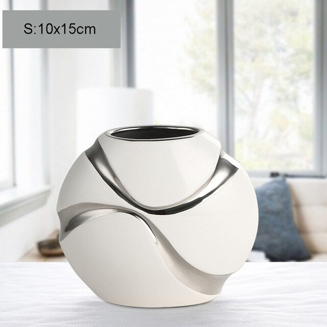 Excuisite Hand-plated Ceramic Vase  white and silver - Free shipping ( 3-4 weeks)