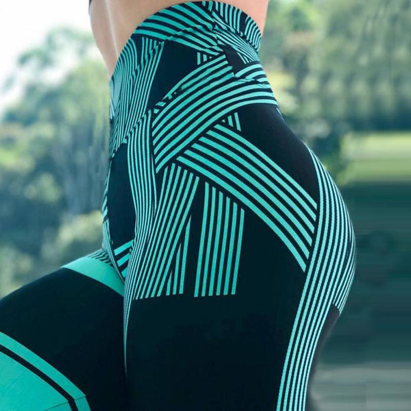 CHRLEISURE Striped 3D printing Yoga/Fitness/Gym wear  Leggings/tights - Free shipping