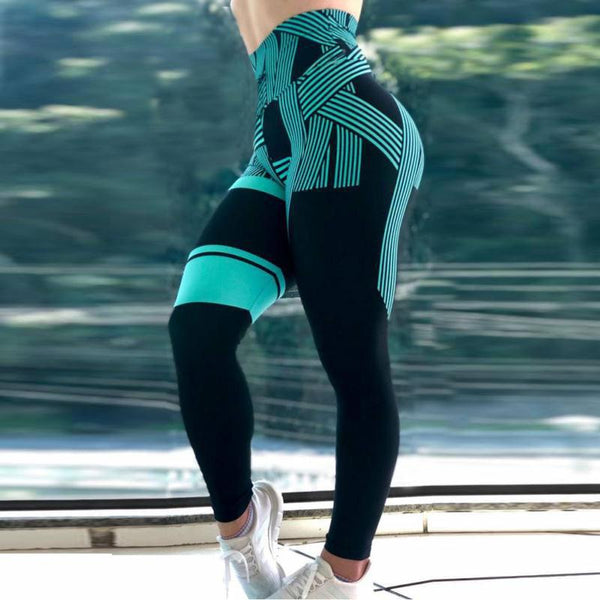 CHRLEISURE Striped 3D printing Fitness Leggings - Free shipping (17-27 days)