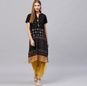 Ethnic Indian Style Printed Cotton Short sleeve Top - Free shipping