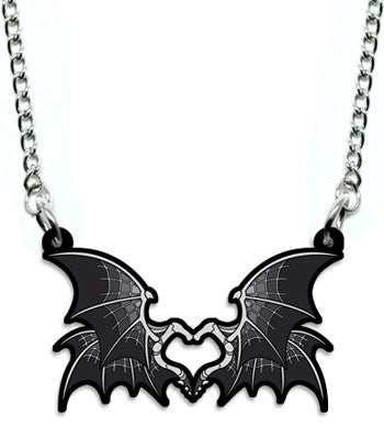 Grey Bone Dragon Heart Metal Necklace
