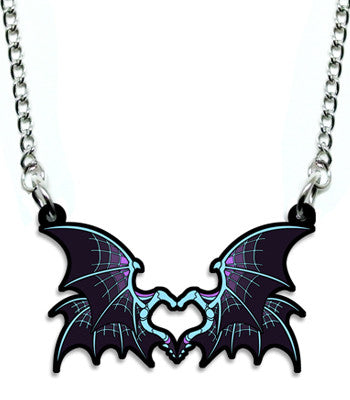 Purple Bone Dragon Heart Metal Necklace