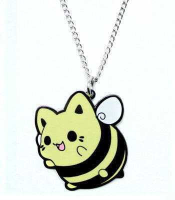 Bee cat metal necklace