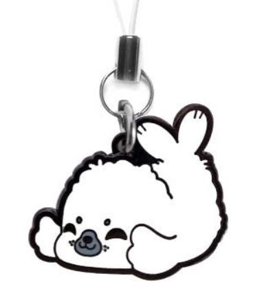 White Fluffy Seal Metal Charm