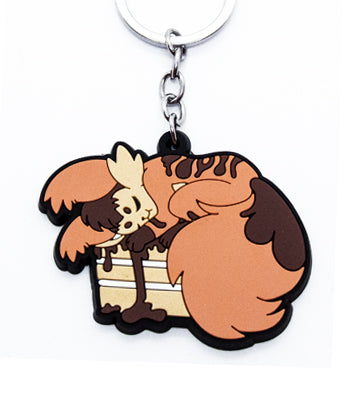Marble cake fox rubber keychain