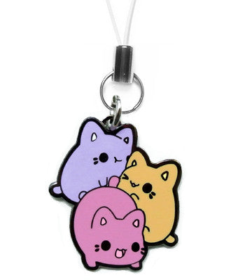 Purple, orange, and dark pink Meowchi Pile charm