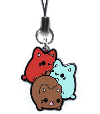 Red, blue, and brown meowchi pile charm