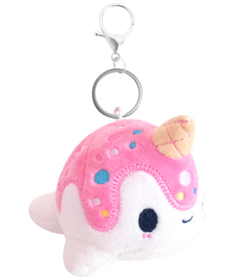 Mini Nomwhal Keychain Plush - Vanilla Berry