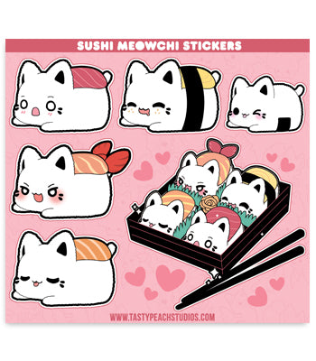 Sushi Meowchi Sticker Sheet