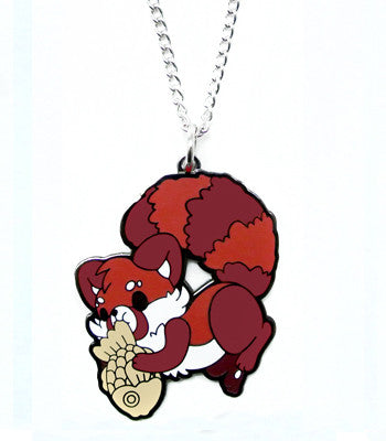 Red panda eating taiyaki fish ice cream metal necklace