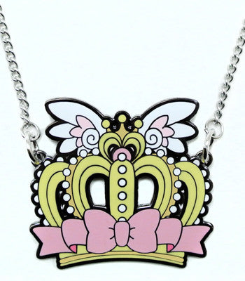 Pink Crown Metal Necklace