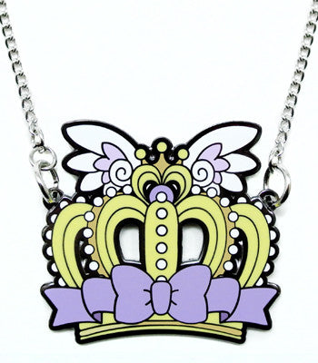 Lavender Crown Metal Necklace