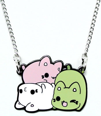 Pink, green, and white Meowchi pile metal necklace