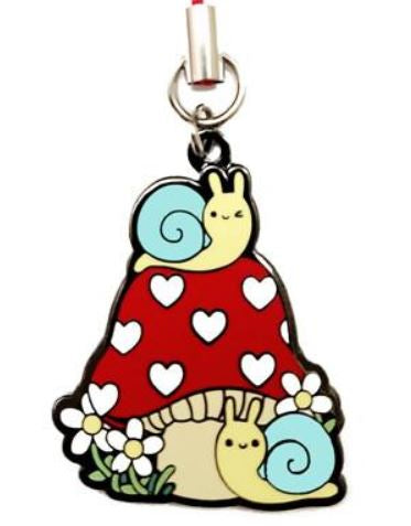 Snails on Mushroom Metal Charm