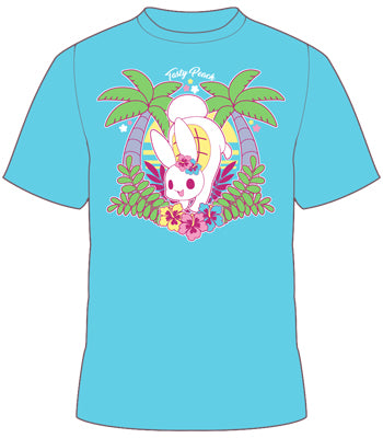 Light blue Tofusagi bunny shirt with palm tree and flower details