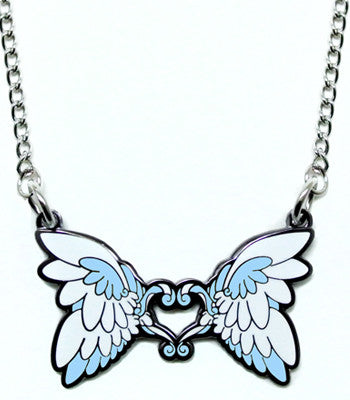 Aqua Feather Heart Metal Necklace