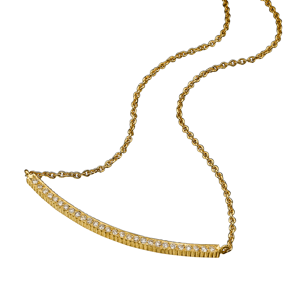 18K GOLD WHITE DIAMOND LILAH SMILE NECKLACE