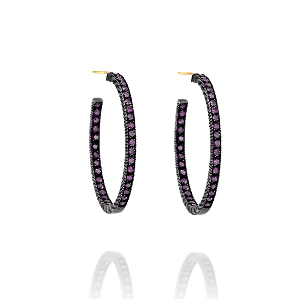 OXIDIZED GILVER PAVE PURPLE DIAMONDS LILAH HOOP EARRINGS