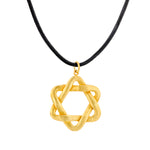 24K GOLD & LEATHER STAR OF DAVID NECKLACE