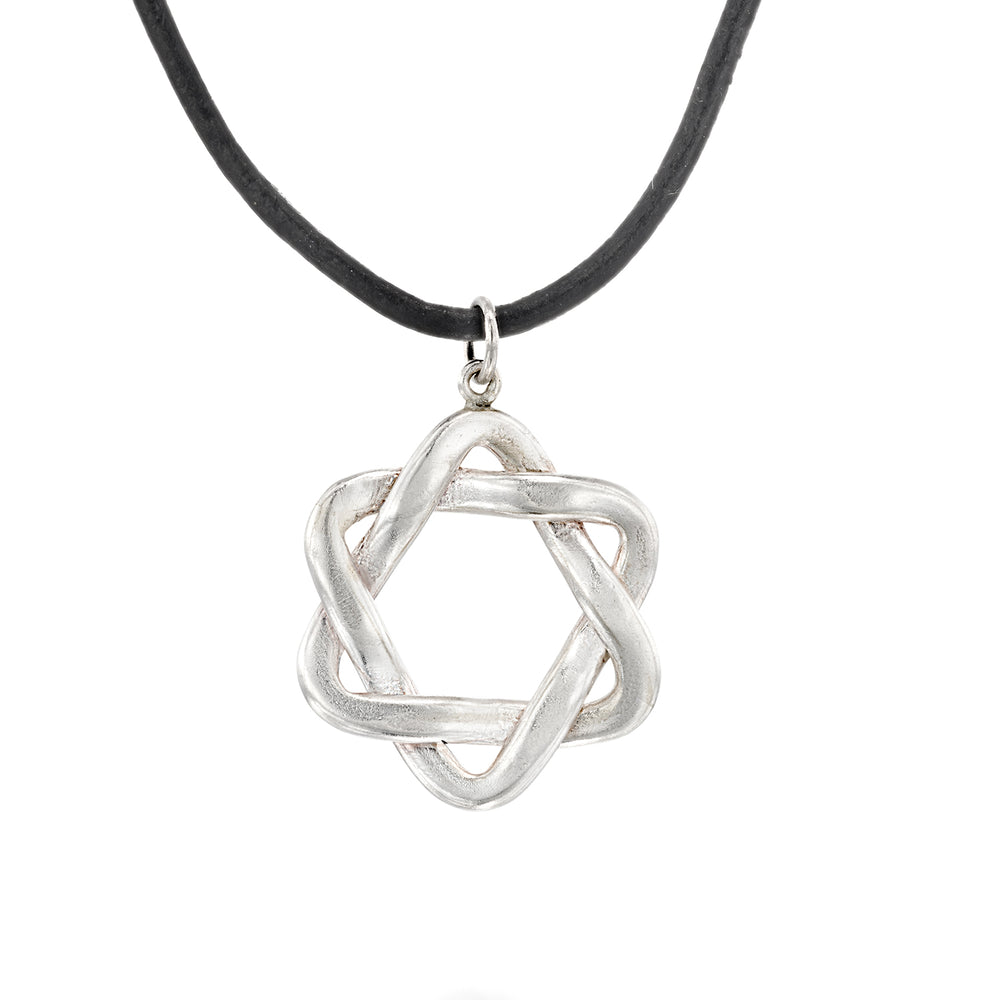 SILVER & LEATHER STAR OF DAVID NECKLACE