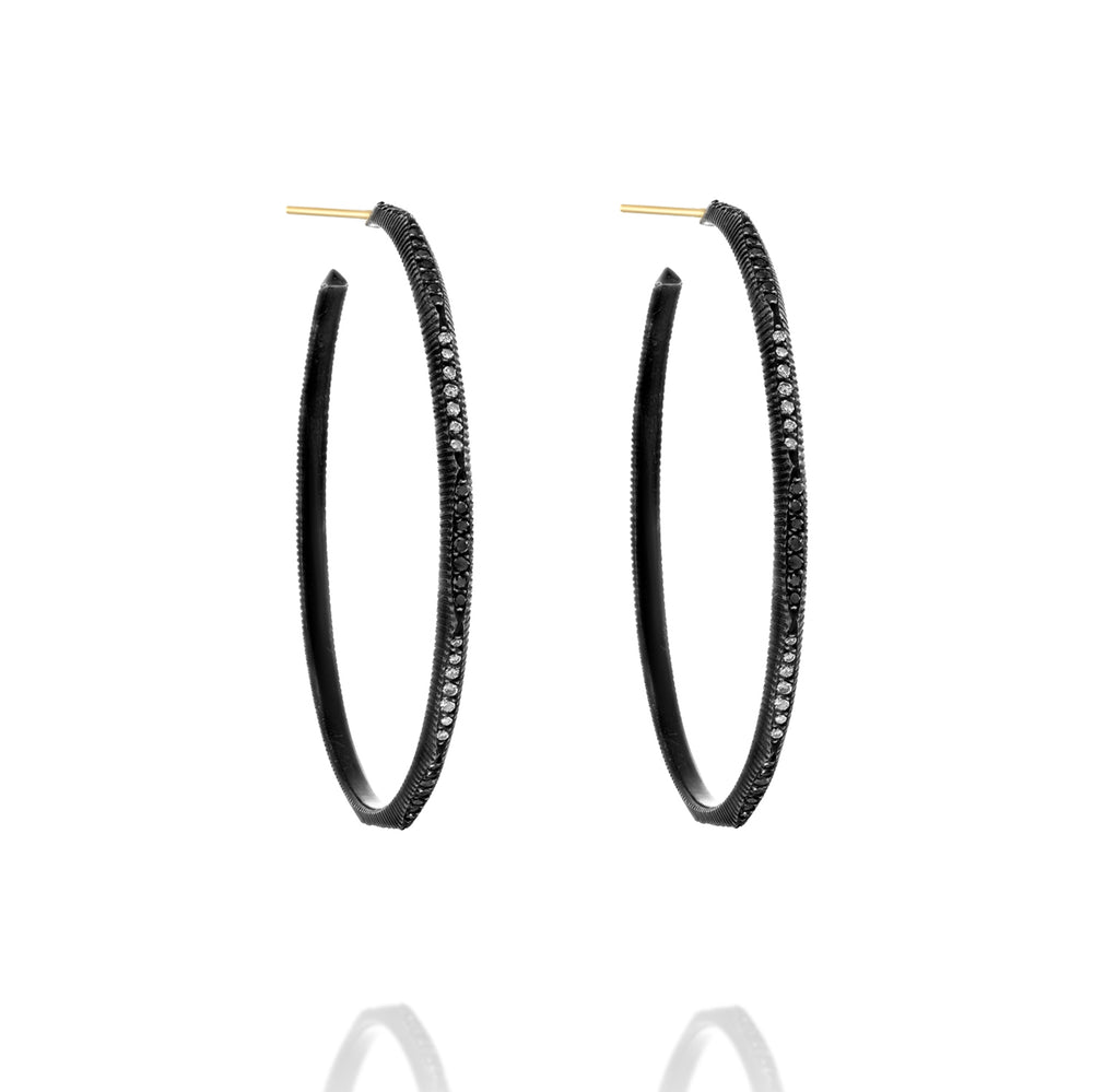 BLACK AND WHITE DIAMOND DORIS HOOP EARRINGS