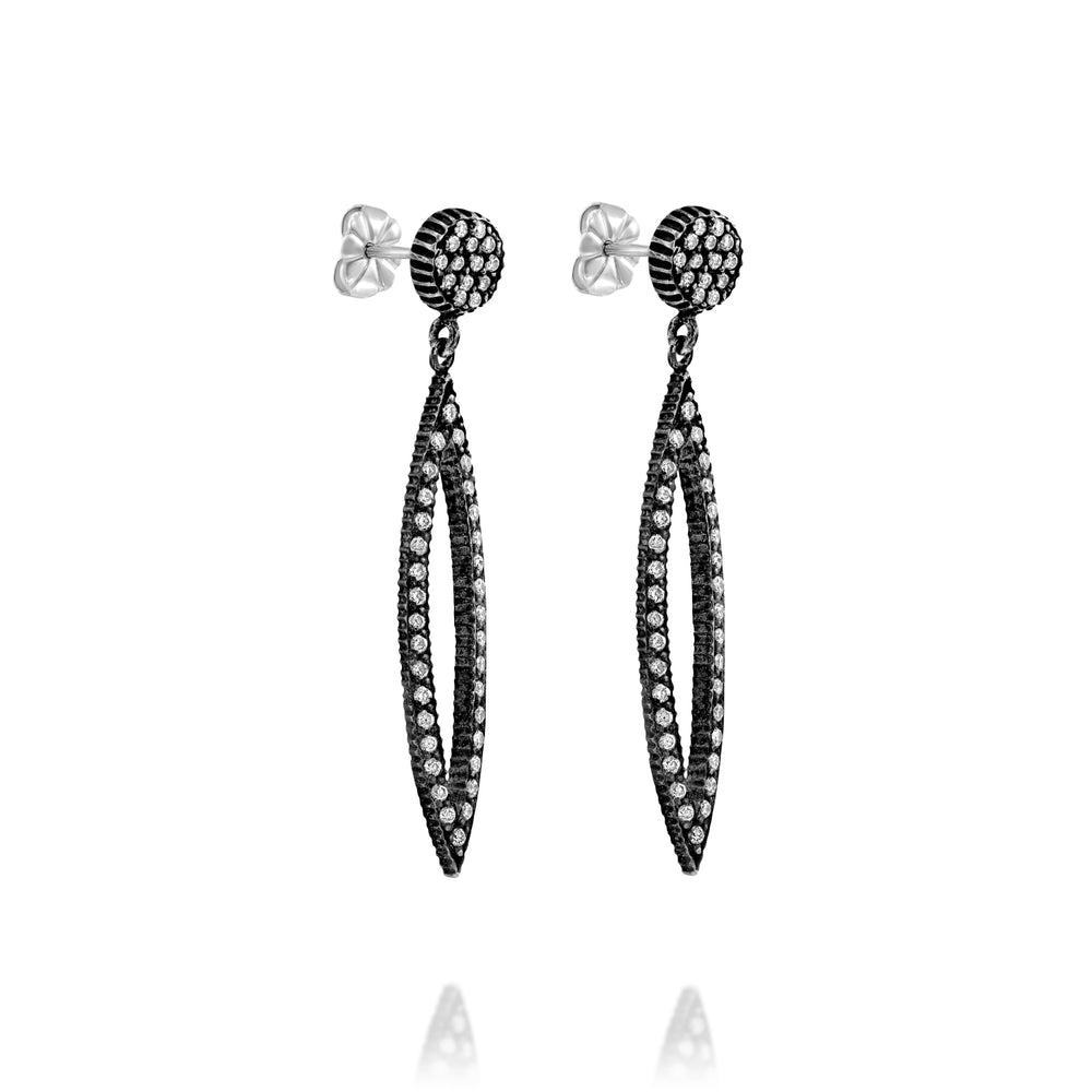 OXIDIZED GILVER DIAMOND MARQUISE LILAH EARRINGS