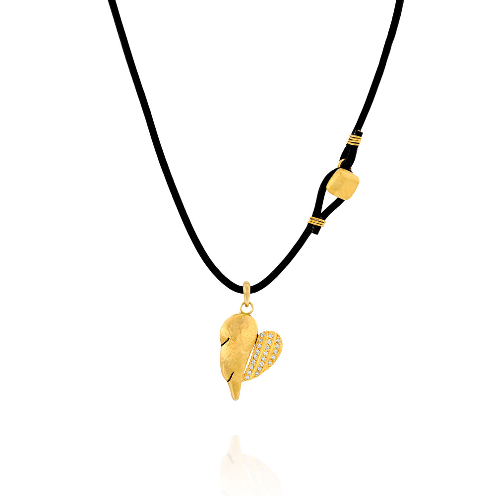 DOUBLE WING GOLD & LEATHER NECKLACE