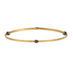 24K GOLD & SMALL GILVER BEAD JANE STACK BANGLE