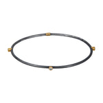 OXIDIZED GILVER 3 DIAMONDS JANE STACK BANGLE