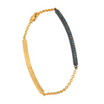 18K GOLD BLUE DIAMOND LILAH ID BRACELET