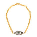 18K GOLD WHITE & TEAL DIAMONDS EYE BRACELET