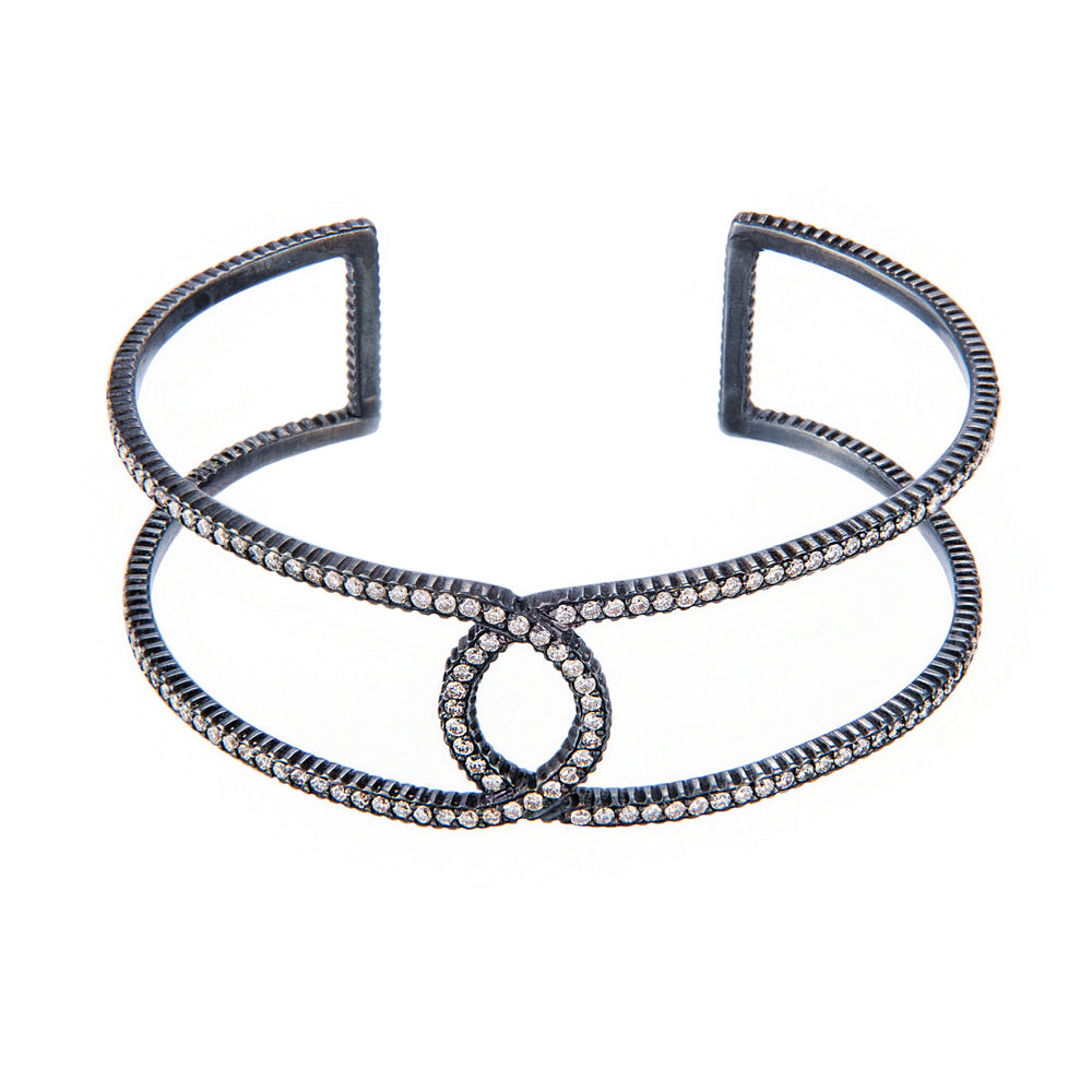 OXIDIZED GILVER & WHITE DIAMONDS LILAH CUFF